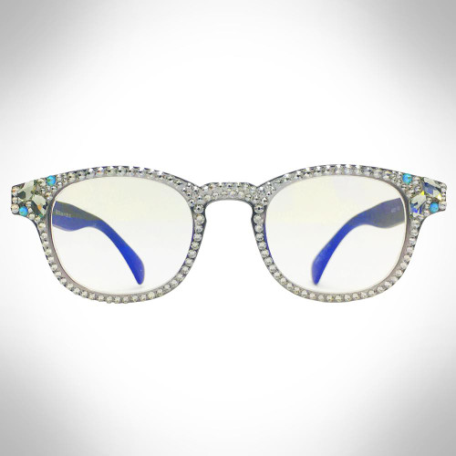 Women's Grey Swarovski Crystal Readers Blue Light Blocking