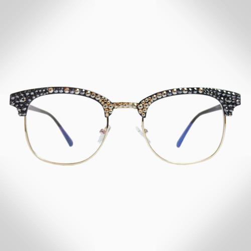 Women's Black and Gold Swarovski Crystal Blue Light Blocking Eye Glasses