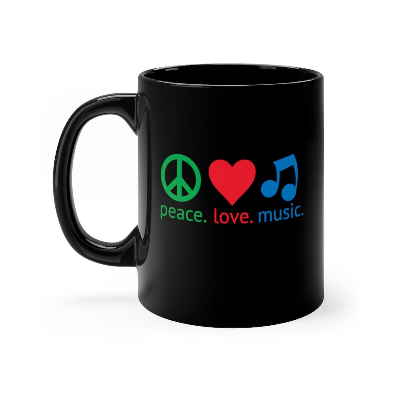 """Black 11oz. """"peace.love.music."""" Ceramic Mug"""