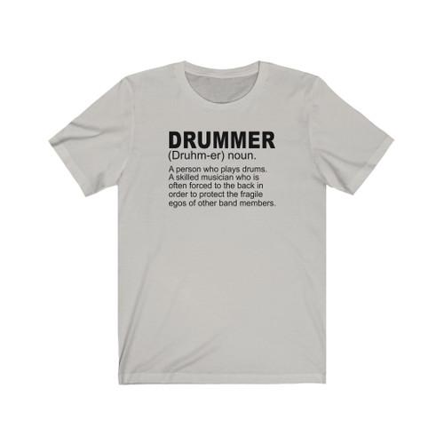 "Unisex Silver ""Drummer Definition"" Short Sleeve Tee"
