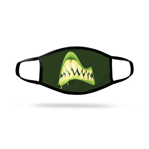 """Monster Green Lips Clenched Teeth"""" Face Mask"""