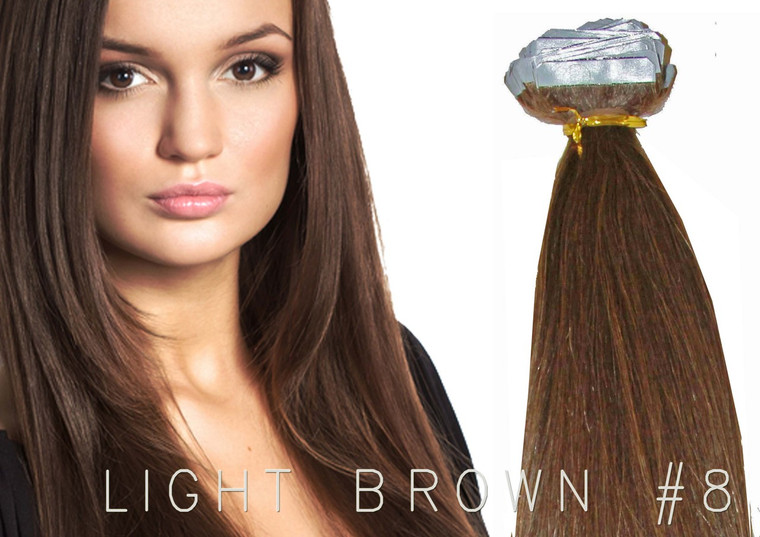 "20"" TAPE EUROPEAN REMY HUMAN HAIR EXTENSION | 62GM PER PACK X 20 PCS LIGHT BROWN #8"