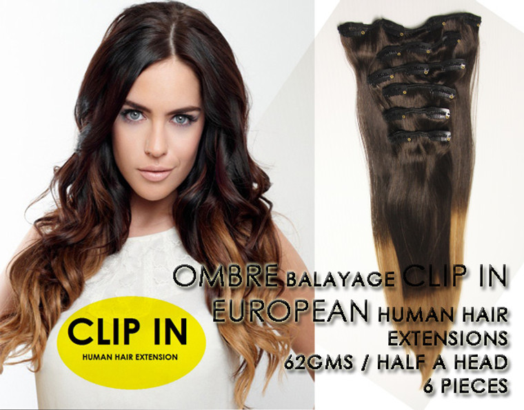 "20"" OMBRE CLIP IN EUROPEAN HUMAN HAIR EXTENSION 2/12"