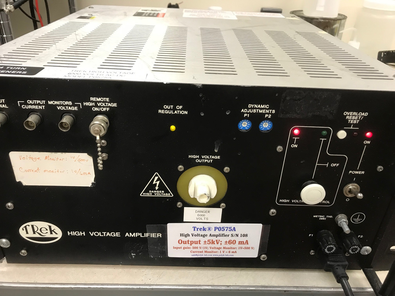 Trek P0575A 5/80 High Voltage Amplifier +/-5 kV, 60 mA, HV cable and warranty