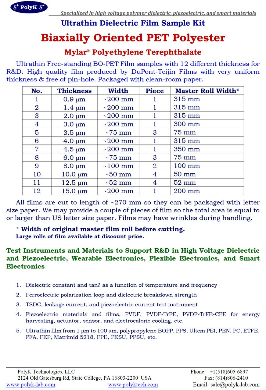 PET Mylar Ultrathin Film Kit, 12 Thickness 0.9 um to 15 um