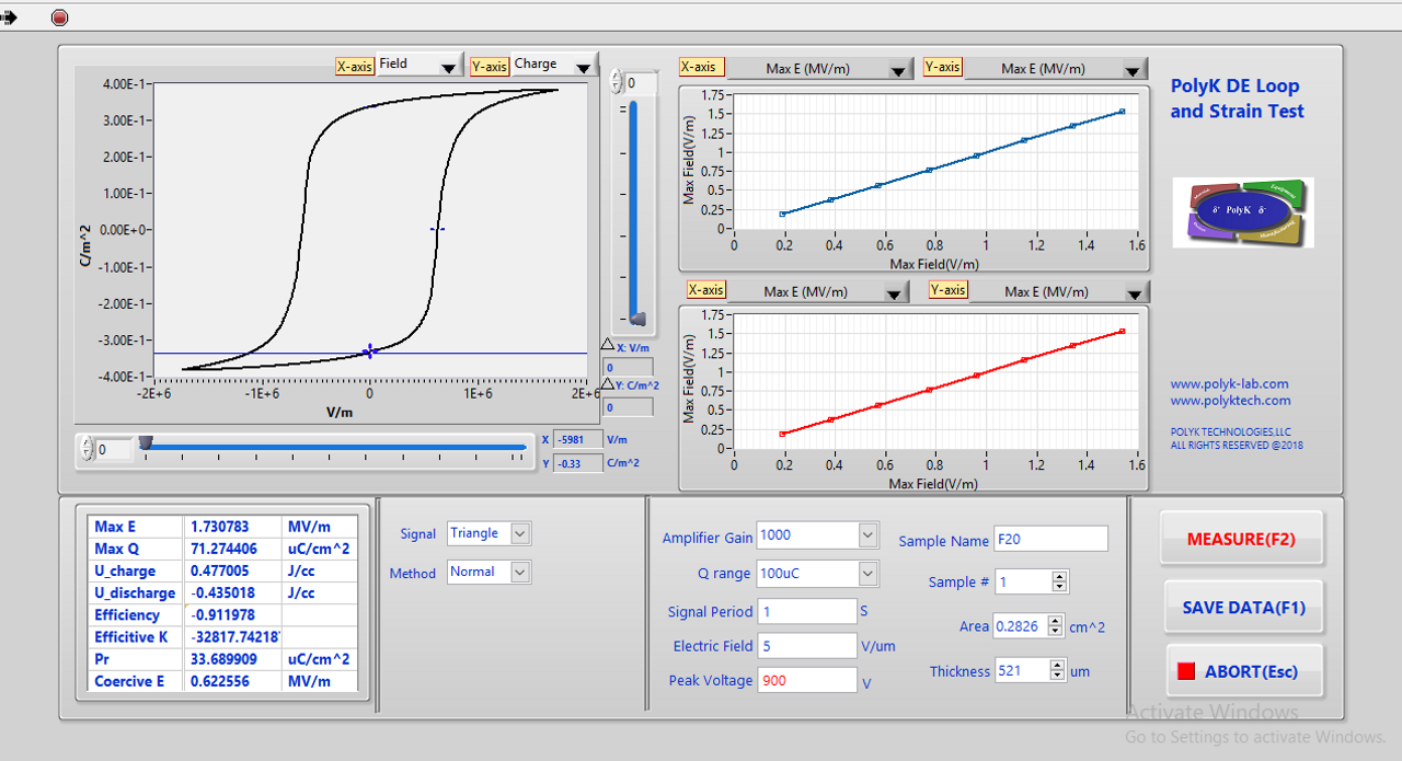 Ferroelectric Displacement (Strain) Measurement System