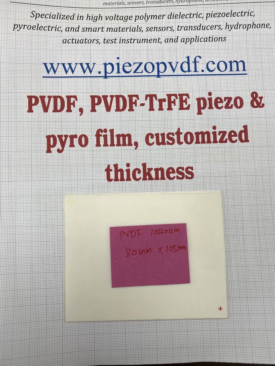 PVDF poled piezoelectric film, hydrophone, 1040 um thick