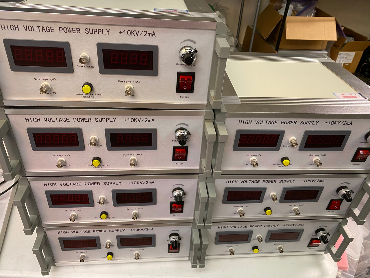 New High Voltage Power Supply +10 kV, 2 mA, Current Limit, With Cables