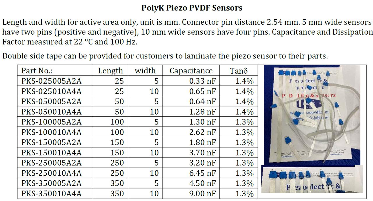 Piezoelectric PVDF Sensor With Leads