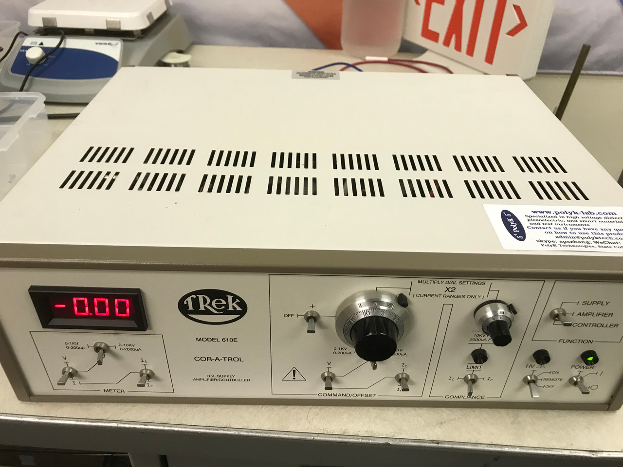 Trek 610E High Voltage Amplifier, Refurbished, +/-10kV/2mA with all cables and warranty, S/N 435