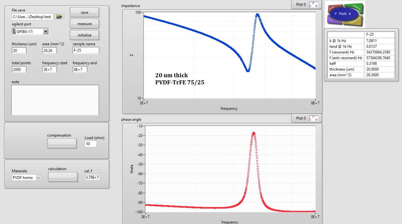 PVDF-TrFE Copolymer piezoelectric film ultrasound transducer with gold electrode, 3 um to 100 um, 100 x 100 mm. 6 mm diameter Ultrasound Fingerprint Sensor