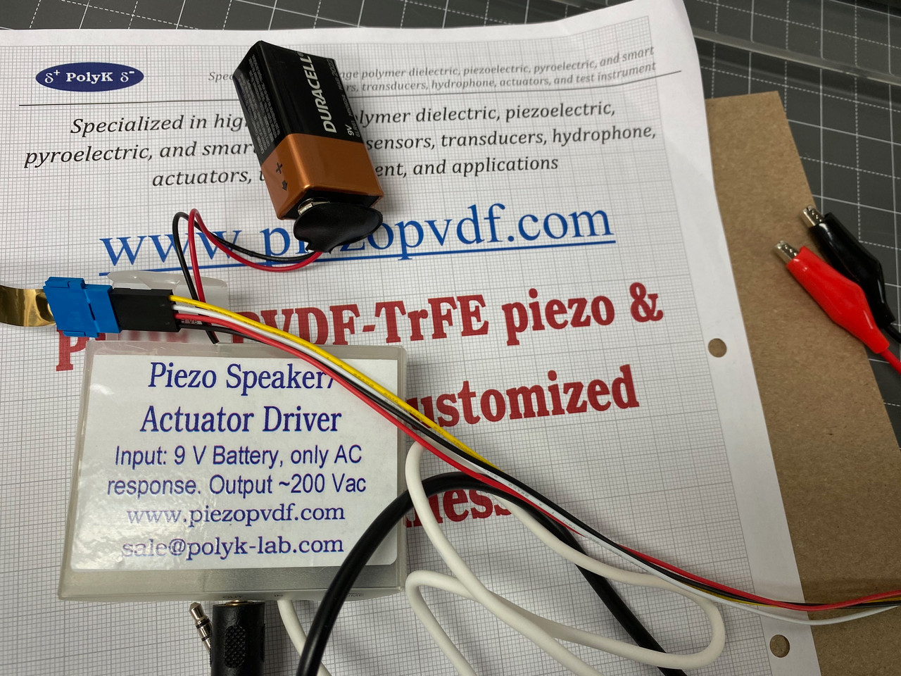 Low Voltage Electroactive Polymer EAP Actuator & Speaker with 9 V Driver and Cables