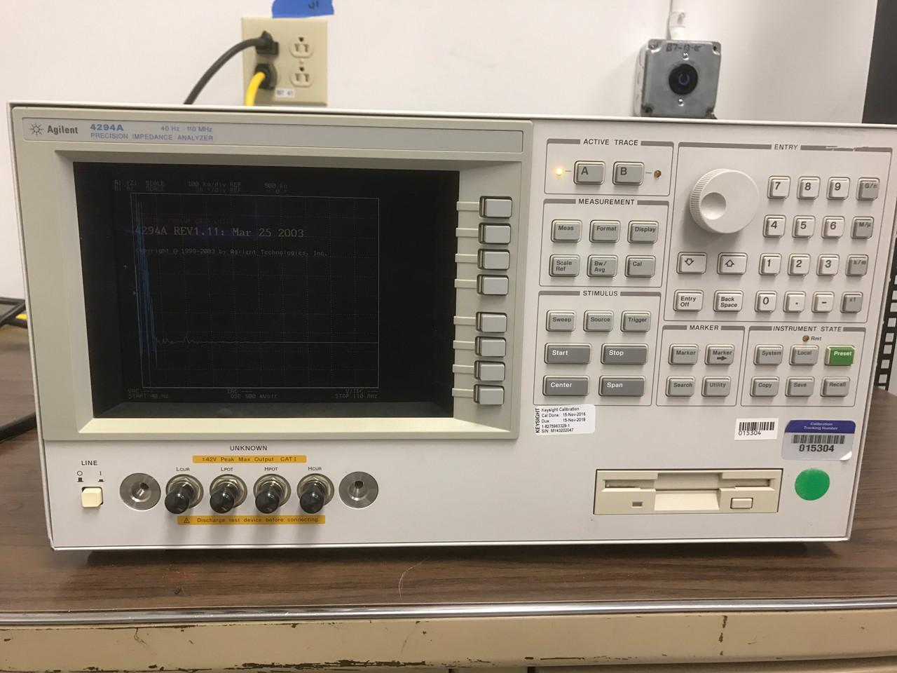Agilent 4294A 40 Hz - 110 MHz, Impedance/Gain-Phase Analyzer, cables, test fixture, software