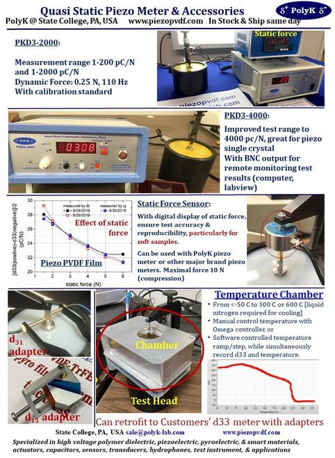Piezoelectric meter PKD3-2000 to measure d33 piezoelectric constant, up to 200 or 2000 pC/N