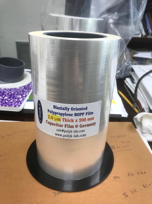 Ultrathin Free Standing biaxially oriented polypropylene BOPP film 2.0 um thick 200 mm x 270 mm