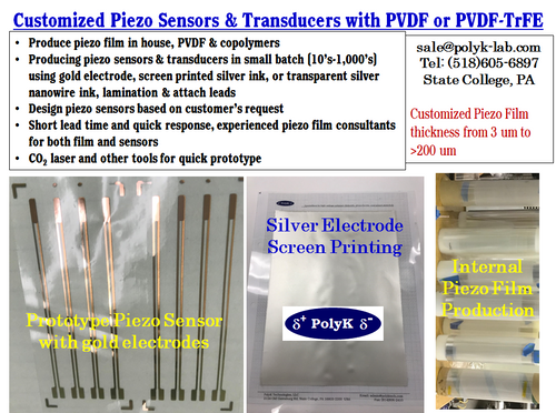 Customized Piezo Sensors and Transducers using PVDF or PVDF-TrFE