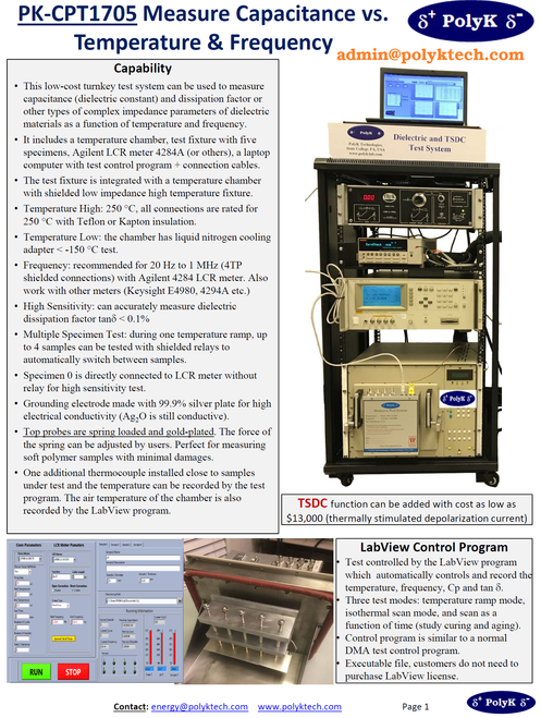 Turnkey Dielectric Measurement System with Temperature Control and Software
