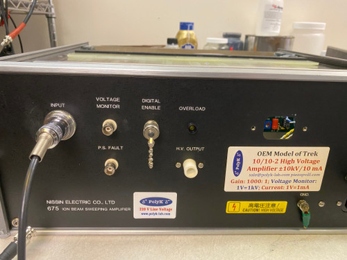 Trek Model 675 10/10-2 High Voltage Power Supply and Amplifier, +/-10 kV, 10 mA, Refurbished, with cables, instruction and warranty