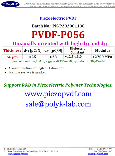 Piezoelectric (Poled) PVDF Film 10 um to 120 um Thick. Uniaxially Oriented with High d31 and d33, Optically Transparent