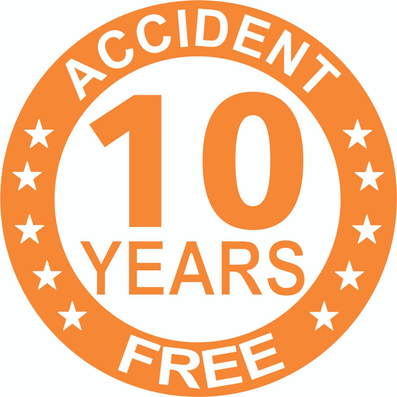 Accident Free 10 Years Hardhat Sticker