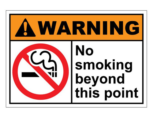 No smoking beyond this point Self-adhesive Vinyl Sticker Prohibition Safety Sign