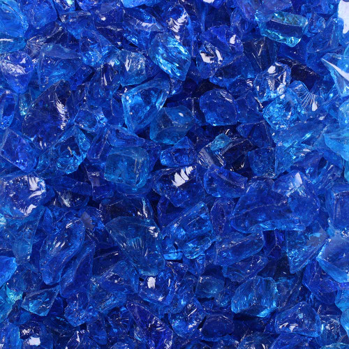 Swatch of azure pieces of fire glass