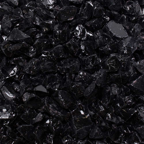 Swatches of dark matter black crushed fire glass