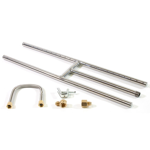 """24""""x 6"""" Stainless Steel H-Burner for Natural Gas with Brass Fittings"""