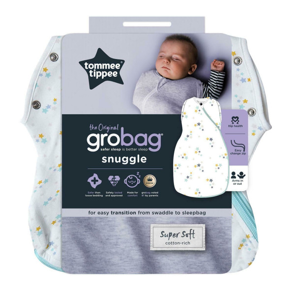 Tommee Tippee Grobag Newborn Snuggle Baby Sleep Bag, Baby Stars - All Sizes/Ages