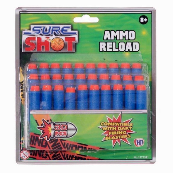Sure Shot Ammo Reload 30 Dart Pack - for use with Kid's Dart Firing Blasters 8+