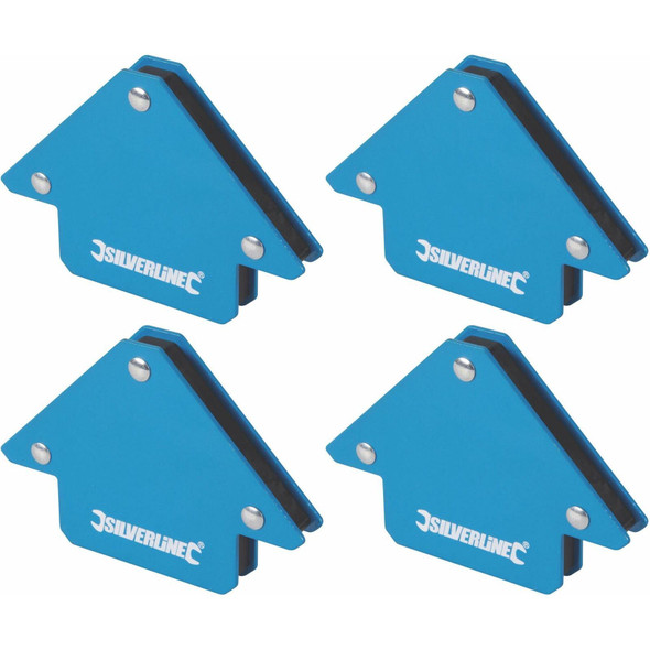 4 x Silverline Welding Magnet Unrestricted Hand Use/Accurate Work/45, 90 & 135°