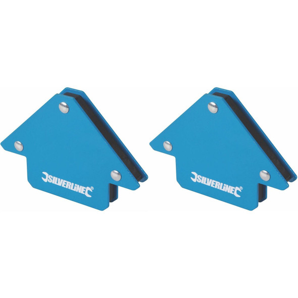 2 x Silverline Welding Magnet Unrestricted Hand Use/Accurate Work/45, 90 & 135°