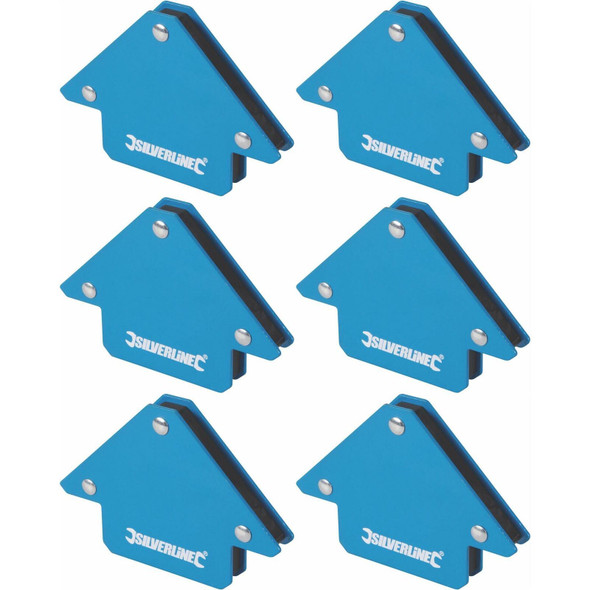 6 x Silverline Welding Magnet Unrestricted Hand Use/Accurate Work/45, 90 & 135°