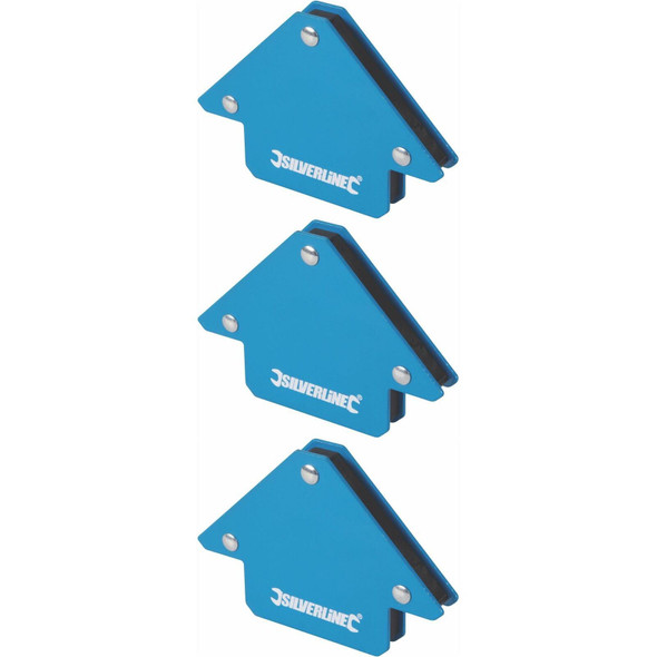 3 x Silverline Welding Magnet Unrestricted Hand Use/Accurate Work/45, 90 & 135°