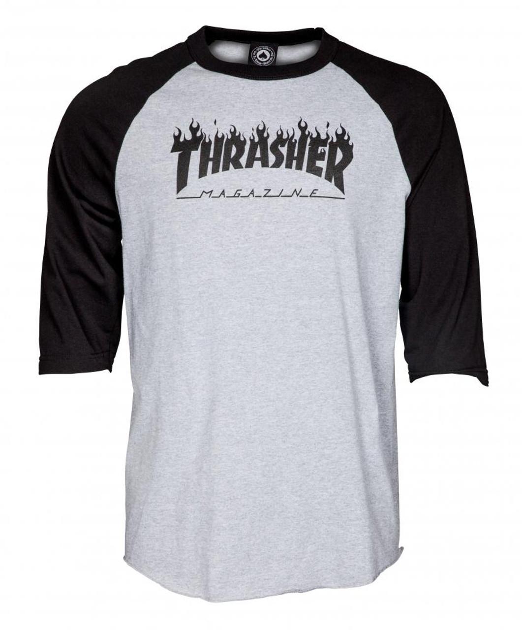 2dc714ff31a5 Thrasher Raglan T Shirt Flame Logo - RollBack World