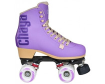 These Fashion skates from Chaya are high-end quad roller skates incorporating a lot of the technologies that Chaya has improved through their love of roller derby.  The boot is a high-cut vinyl clad boot. It has a heat-mouldable heel cup that lets you customize the fit to suit your heel perfectly. The anatomically shaped ankle area provides the right amount of support and makes the skate usable for long sessions.  The plates on these roller skates are Chayas Shari plates. They are made with a mix of nylon and fiberglass for a strong lightweight plate. Along with the 20° cast aluminum trucks and Jelly Interlock cushions you get a highly maneuverable skate that is fun to skate and easy to control.  The plates are prepared for the Chaya Dual Center Mounting, which makes them easy to switch from boot to boot depending on where and what you are skating.  Octo Paseo wheels with a soft and grippy durometer. Controller toe stops make changing direction and stopping a breeze.