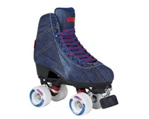 These fashion skates from Chaya are high-end quad roller skates incorporating a lot of the technologies that Chaya has improved through their love of Roller Derby.  The boot is a high-cut canvas/blue denim clad boot. It has a heat-mouldable heel cup that lets you customise the fit to suit your heel perfectly. The anatomically shaped ankle area provides the right amount of support and makes the skate usable for long sessions.  The plates on these roller skates are Chayas Shari plates. They are made with a mix of nylon and fibreglass for a strong lightweight plate. Along with the 20° cast aluminium trucks and Jelly Interlock cushions you get a highly manoeuvrable quad roller skate that is fun to skate and easy to control.  The plates are prepared for the Chaya Dual Centre Mounting which makes them easy to switch from boot to boot depending on where and what you are skating.  Octo Paseo wheels with a soft and grippy durometer. Controller toe stops make changing direction and stopping a breeze.