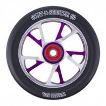 Grit Bio Core Spoked Wheel - 125mm - Black on Silver/Purple