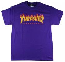 Thrasher T Shirt Flame Logo - Purple