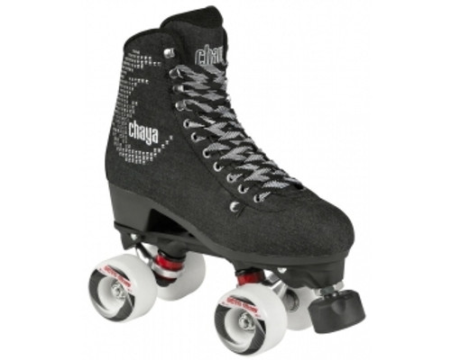 The Chaya Noir roller skate is a true example of what happens when fashion meets comfort and performance. This skate takes you back to the heart of the roller skating movement in California in the 70´s. This is the perfect roller skate to cruise along the boardwalk with your friends. The Chaya Noir is extremely comfortable, fitting just like a sneaker. This black denim roller skate with it´s lovely rhinestone logo and high quality embroidery is stylish and comfortable enough to wear all day long and well into the evening. Boot/shell: Canvas rhinestones Frame: composite Shari Wheels: Octo Paseo 62x38mm wheels Bearings: Wicked ABEC 7 bearings
