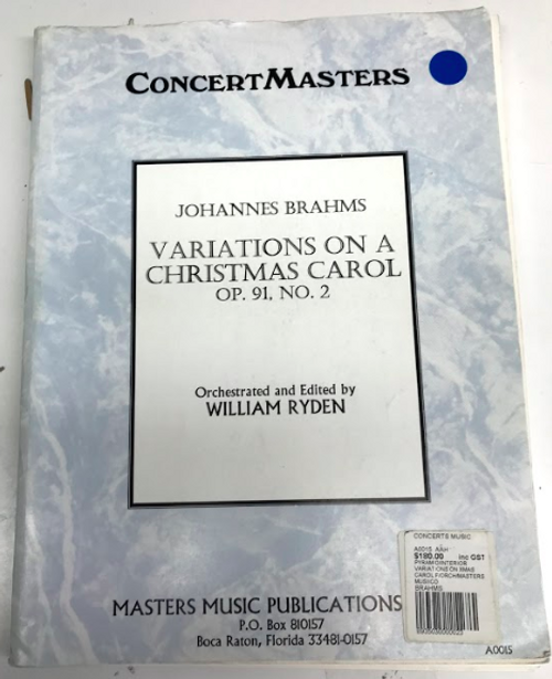 Brahms Variations on a Christmas Carol full orchestral score