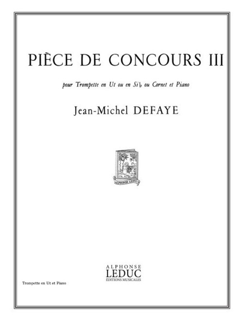 Piece de Concours III for Trumpet in C or Bb or Cornet and Piano