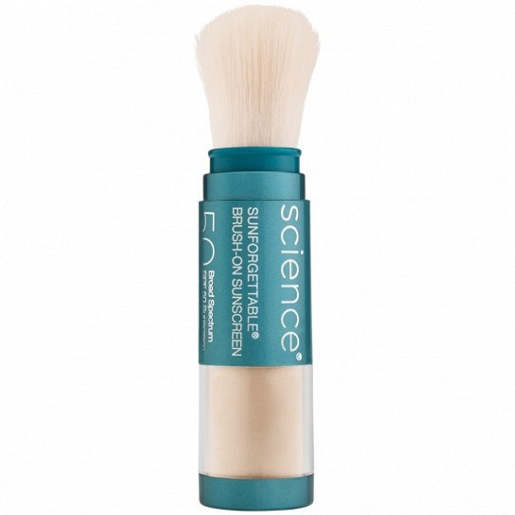 SUNFORGETTABLE TOTAL PROTECTION BRUSH-ON SHIELD SPF 50 - Fair 0.2 oz/6 g Colorescience Sunforgettable Mineral Sunscreen Brush SPF 50 offers convenient sun protection. The Colorescience Sunforgettable Mineral Sunscreen Brush SPF 50 contains a loose powder sunscreen that provides broad spectrum protection for even the most sensitive skin types. This pure mineral powder features 23.9% titanium dioxide and 24.1% zinc oxide to shield skin from harmful UVA and UVB rays, plus red algae extract to provide antioxidant protection. The self-dispensing brush makes sweeping this Colorescience sunscreen across skin on the face or body quick, simple and ideal for reapplying over makeup throughout the day. Lightweight and water-resistant, it's also free of fragrance, dyes, talc and other common irritants.  Provides sheer coverage with four different tints Offers physical sun protection with titanium dioxide and zinc oxide Talc-free and water-resistant Colorescience sunscreen