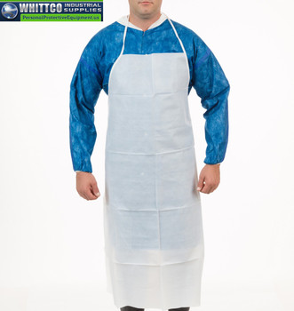 """6102-45 White Duraguard Apron, 35"""" x 45"""", Ties in Back (6102-45)"""