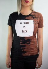 DETROIT IS BACK™ HAND STAINED TEE (WMNS) – BLACK/WHITE