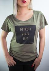 Detroit Never Left™Wmns Dolman Tee -  Military Green/Black