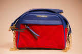 "The ""Not For Sale"" Bag  - Blue & Red Suede"