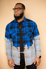Hand Stained Flannel - Blue