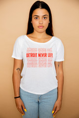 Detroit Never Left™ Wmns Tee - White/Red