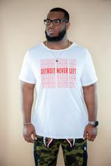 Detroit Never Left™ Raw Neck Unisex Tee - White/Red